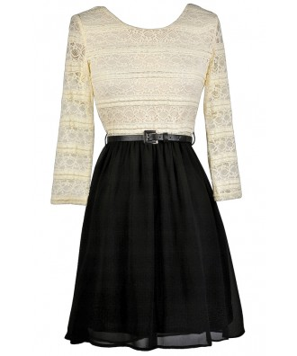 Black and Beige Lace Dress, Cute Fall Dress, Black and Beige Belted Dress