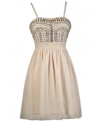 Beige Studded Dress, Beige Party Dress, Beige Cocktail Dress