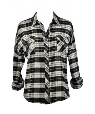 90s Grunge Flannel, Black and Beige Flannel Shirt, Black and White Plaid Flannel
