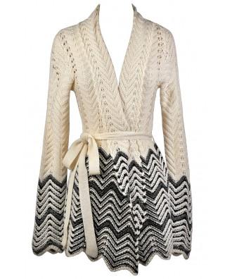 Black and Beige Chevron Sweater, Cute Winter Sweater, Black and Beige Cardigan Sweater