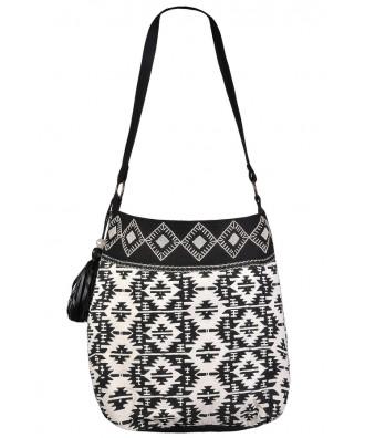 Cute Aztec Purse, Black and White Geometric Aztec Purse, Cute Beaded Purse