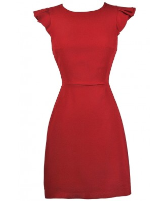 Red Sheath Dress, Red Party Dress, Red Cocktail Dress, Red Flutter Sleeve Dress