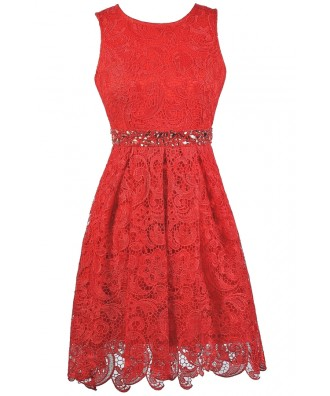 Red Lace Party Dress, Red Lace A-line Dress, Red Lace Bridesmaid Dress, Red lace Cocktail Dress