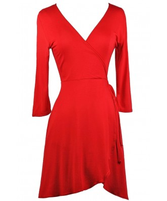 Red Wrap Dress, Cute Red Dress, Red Holiday Dress