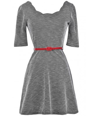 Black White and Red Belted Dress, Black and White Tweed Dress, Cute Fall Dress, Cute Holiday Dress