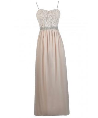 Cute Prom Dress, Embellished Maxi Dress, Cream Blush Maxi Dress, Lace Maxi Dress, Blush Pink Maxi Dress