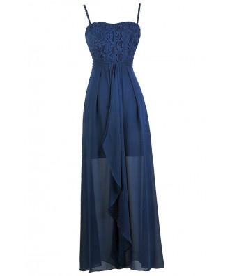 Cute Blue Dress, Blue Maxi Dress, Blue Lace and Chiffon Dress, Blue Bridesmaid Dress