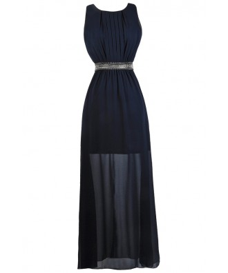 Navy Beaded Maxi Dress, Navy Maxi Bridesmaid Dress, Navy Formal Dress, Navy Prom Dress