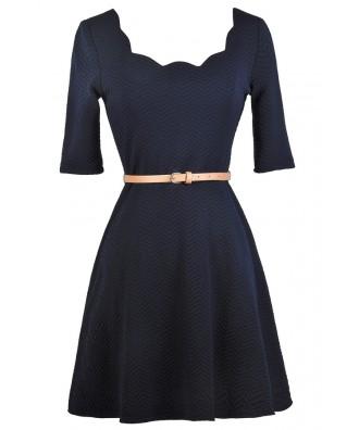 Navy A-Line Dress, Cute Navy Dress, Belted Navy Dress