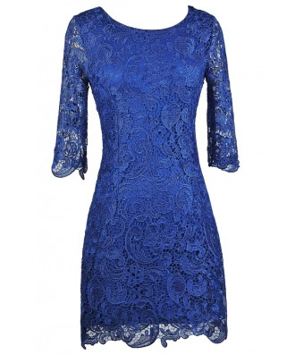 Royal Blue Lace Sheath Dress, Bright Blue Lace Dress, Blue Lace Cocktail Dress, Blue Lace Party Dress