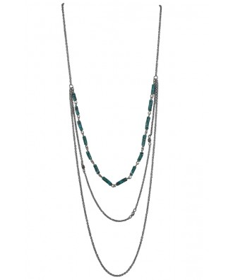 Cute Turquoise Necklace, Turquoise and Silver Layered Necklace, Cute Boho Jewelry