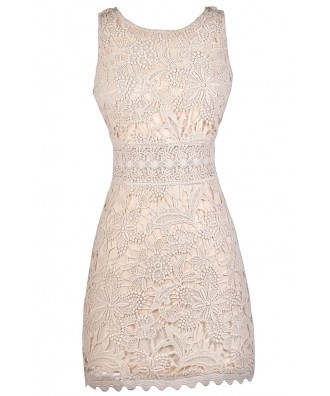 Cream lace Dress, Beige Lace Dress, Lace Rehearsal Dinner Dress, Lace Bridal Shower Dress
