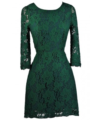Green Lace Sheath Dress, Cute Green Dress, Green Lace Party Dress, Green Lace Cocktail Dress