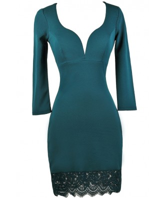 Cute Teal Dress, Teal Lace Dress, Teal Party Dress, Teal Cocktail Dress