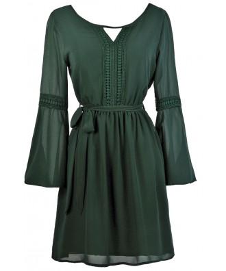 Forest Green Bell Sleeve Hippie Dress, Cute Fall Dress, Cute Boho Dress