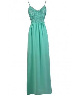Teal Lace Maxi Dress, Teal Open Back Maxi Dress, Teal Prom Dress