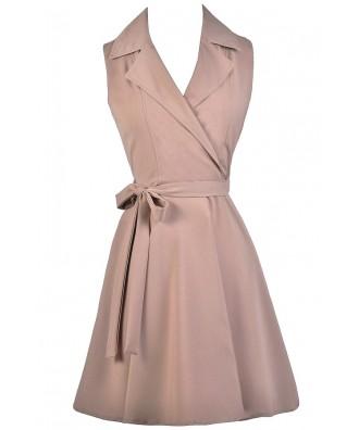 Cute Work Dress, Beige Shirt Wrap Dress, Cute Taupe Dress