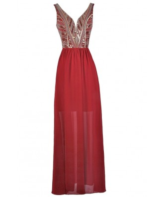 Red and Gold Maxi Dress, Red Prom Dress, Cute Red Dress