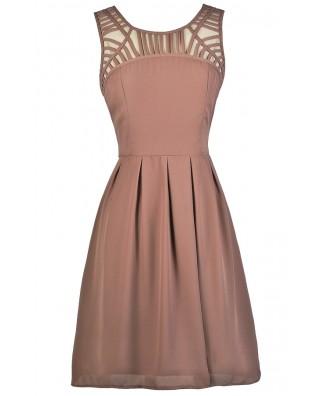 Cute Mocha Dress, Mocha Party Dress, Mocha Cocktail Dress