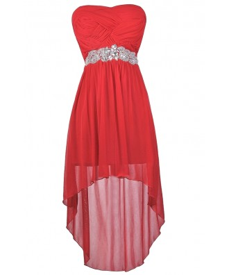 Cute Red Dress, Red Party Dress, Red High Low Dress, Red Embellished Dress