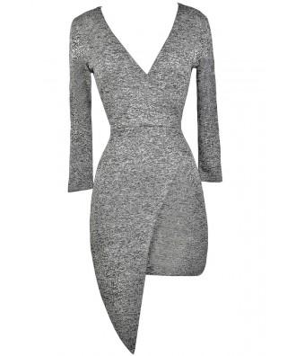 Cute Grey Dress, Grey Cocktail Dress, Grey Wrap Dress, Grey Party Dress