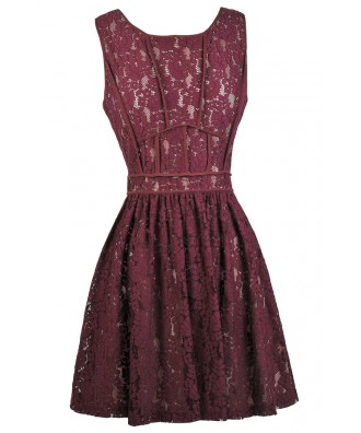 Burgundy Wine Lace Dress, Cute Bridesmaid Dress, Wine Red Party Dress