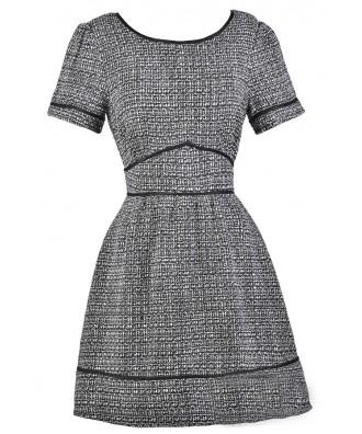 Black and Ivory Tweed Dress, Cute Work Dress