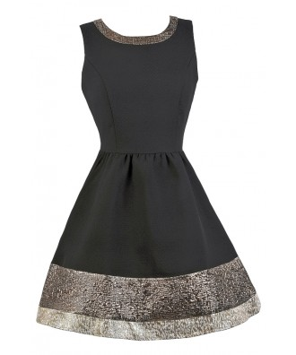 Black and Gold Party Dress, Cute Black Dress, Little Black Dress, Black A-Line Dress