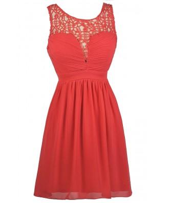 Cute Coral Dress, Coral Crochet Neckline Dress, Coral A-Line Dress, Coral Party Dress, Coral Sundress