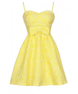 Bright Yellow Sundress, Cute Juniors Dress, Yellow Bridesmaid Dress, Bright Yellow Bow Dress, Yellow Party Dress