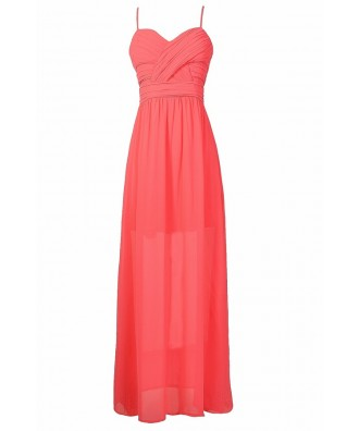 Hot Pink Chiffon Prom Dress, Hot Pink Maxi Dress, Hot Pink Juniors Maxi Dress