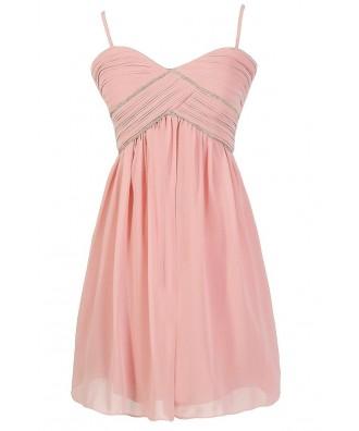 Pink Embellished Chiffon Dress, Pink Beaded Prom Dress, Pink Beaded Bridesmaid Dress, Pink Beaded A-line Party Dress