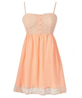 Peach Lace Babydoll Dress, Cute Peach Lace Summer Dress, Cute Juniors Dress, Lace Bustier Dress