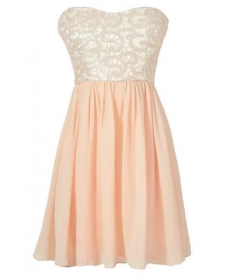 Pink Shimmer Lace Strapless Dress, Pale Pink Lace Bridesmaid Dress, Pink Lace Prom Dress, Pink Lace Chiffon Party Dress