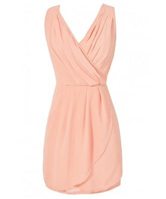Peach Chiffon Party Dress, Peach Tulip Skirt Dress, Cute Juniors Dress