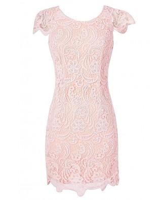 Pale Pink Crochet Lace Capsleeve Pencil Dress, Cute Date Dress, Pink Crochet Lace Dress, Cute Juniors Dress, Pale Pink Lace Summer Dress