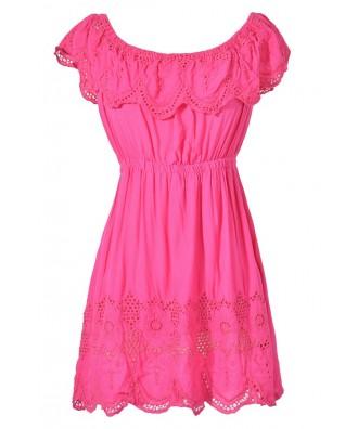 Cute Hot Pink Eyelet Crochet Lace Tunic, Cute Hot Pink Bohemian Tunic, Hot Pink Ruffle Crochet Lace Tunic, Cute Summer Top