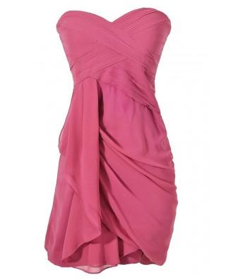 Berry Purple Strapless Chiffon Bridesmaid Dress, Berry Purple Chiffon Party Dress, Purple Chiffon Summer Dress