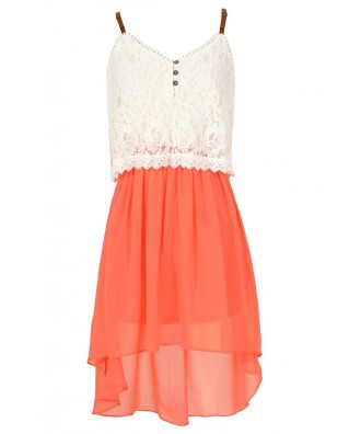 Orange Coral and Ivory Lace and Chiffon Flutter Top High Low Dress, Cute Orange Coral and Ivory Lace Summer Dress, Cute Juniors Dress