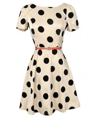 Cute Black and Beige Polka Dot Dress, Retro Polka Dot Dress, Black and Beige 1960s Polka Dot Dress, Black and Beige 1950s Polka Dot Dress