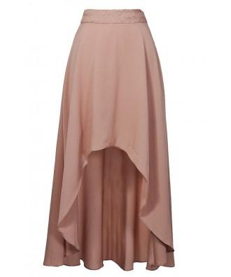 Nude High Low Maxi Skirt, Cute Beige Summer Maxi Skirt, High Low Beige Skirt
