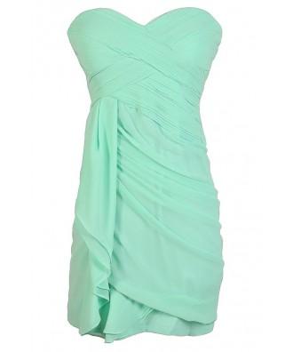 Mint Bridesmaid Dress, Cute Mint Dress, Strapless Mint Dress, Mint Party Dress, Mint Chiffon Bridesmaid Dress, Strapless Mint Party Dress