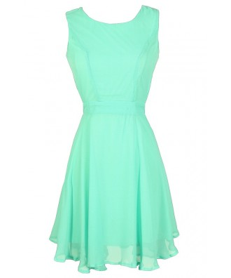 Mint Open Back Dress, Mint Chiffon Dress, Mint Summer Dress, Cute Mint Dress, Mint Party Dress, Mint Cocktail Dress, Mint Sundress