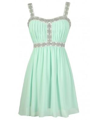 Cute Mint Dress, Beaded Mint Prom Dress, Embellished Mint Prom Dress, Beaded Mint Party Dress, Rhinestone Mint Dress, Mint Cocktail Dress