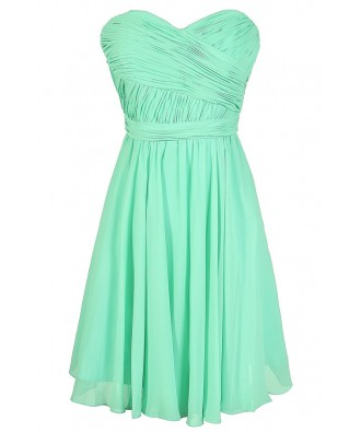 Mint Bridesmaid Dress, Mint Chiffon Bridesmaid Dress, Mint Strapless Bridesmaid Dress, Green Bridesmaid Dress, Mint Summer Dress