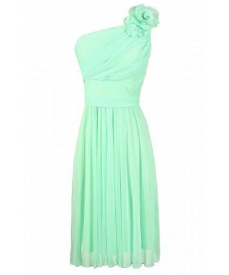Mint Bridesmaid Dress, One Shoulder Mint Bridesmaid Dress, Cute Mint Dress, Floral Applique Mint Dress, Mint Chiffon Bridesmaid Dress