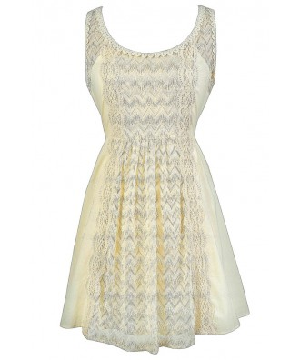 Beige Lace Dress, Cute Beige Summer Dress, Beige Cotton Dress, Beige Sundress, Beige Lace Rehearsal Dinner Dress