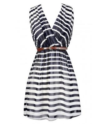 Navy and Ivory Stripe Dress, Cute Summer Stripe Dress, Navy Nautical Stripe Dress, Navy and Ivory Belted Stripe Dress