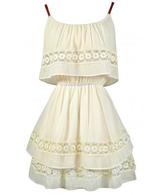 Tiered Ivory Dress, Ivory Crochet Lace Dress, Cute Summer Dress, Cute Ivory Dress, Cute Country Dress, Off White Country Dress, Off White Summer Dress, Ivory Sundress