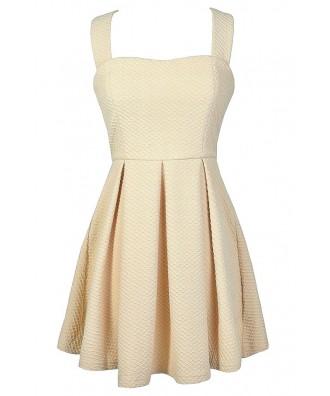 Cute Beige Dress, Beige Fit and Flare Dress, Beige Rehearsal Dinner Dress, Beige Summer Dress, Beige A-Line Dress, Beige Party Dress